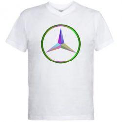 Мужская футболка  с V-образным вырезом Mercedes Logo Art - FatLine