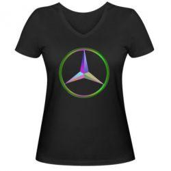Женская футболка с V-образным вырезом Mercedes Logo Art - FatLine