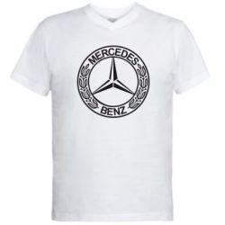 Мужская футболка  с V-образным вырезом Mercedes Logo - FatLine