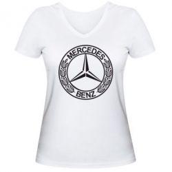 Женская футболка с V-образным вырезом Mercedes Logo - FatLine