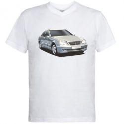 Мужская футболка  с V-образным вырезом Мерседес - FatLine