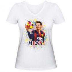 Женская футболка с V-образным вырезом Месси Art