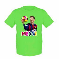 Детская футболка Месси с мячом, полигональный портрет