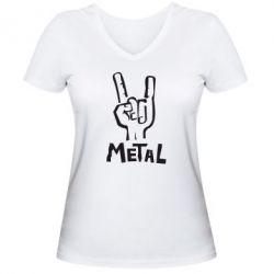 Женская футболка с V-образным вырезом Metal - FatLine