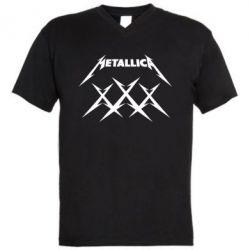 Мужская футболка  с V-образным вырезом Metallica XXX - FatLine