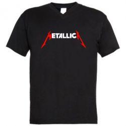 Мужская футболка  с V-образным вырезом Металлика - FatLine