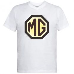 Мужская футболка  с V-образным вырезом MG Cars Logo - FatLine