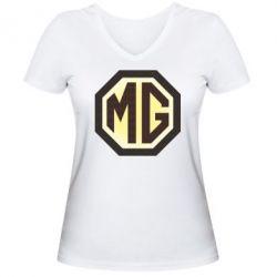 Женская футболка с V-образным вырезом MG Cars Logo - FatLine