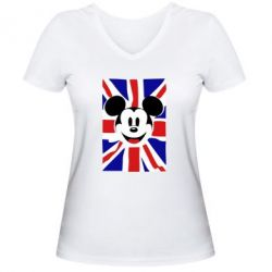 Женская футболка с V-образным вырезом Mickey Swag - FatLine
