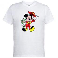 Мужская футболка  с V-образным вырезом Микки Джентельмен - FatLine