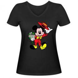 Женская футболка с V-образным вырезом Микки Джентельмен - FatLine