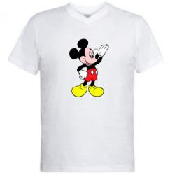 Мужская футболка  с V-образным вырезом Микки Hello - FatLine