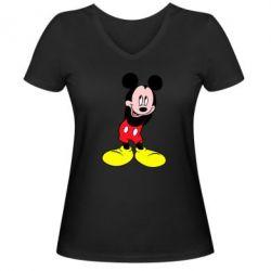 Женская футболка с V-образным вырезом Микки Маус стесняется - FatLine