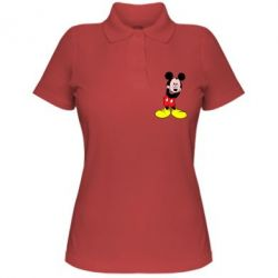 Женская футболка поло Микки Маус стесняется - FatLine
