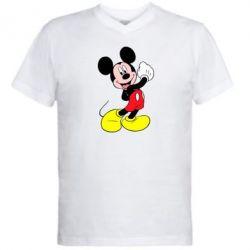 Мужская футболка  с V-образным вырезом Микки Маус
