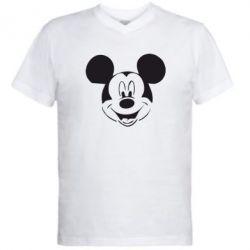 Мужская футболка  с V-образным вырезом Микки Маус - FatLine