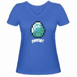 Женская футболка с V-образным вырезом Minecraft Diamond! - FatLine