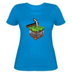 Женская футболка Minecraft Logo Сube