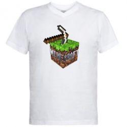 Мужская футболка  с V-образным вырезом Minecraft Logo Сube