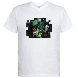 Мужская футболка  с V-образным вырезом Minecraft Party - FatLine
