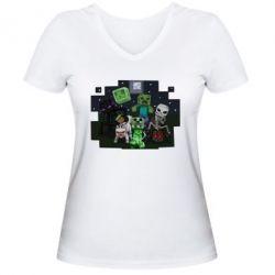 Женская футболка с V-образным вырезом Minecraft Party - FatLine