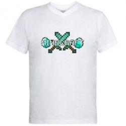 Мужская футболка  с V-образным вырезом Minecraft - FatLine