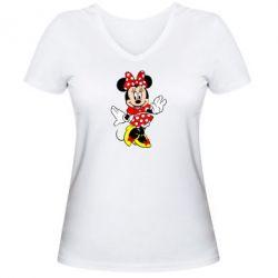 Женская футболка с V-образным вырезом Минни Красавица - FatLine