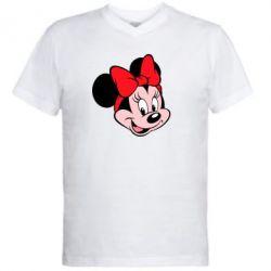 Мужская футболка  с V-образным вырезом Минни Маус - FatLine