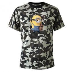 Камуфляжная футболка Миньон с гитарой - FatLine