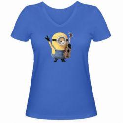 Женская футболка с V-образным вырезом Миньон с гитарой - FatLine