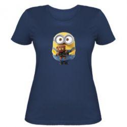 Женская футболка Миньон с мишкой