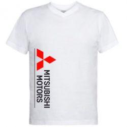 Мужская футболка  с V-образным вырезом Mitsubishi Motors лого - FatLine