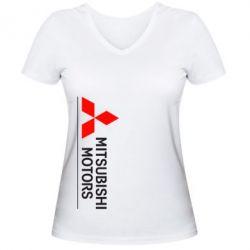 Женская футболка с V-образным вырезом Mitsubishi Motors лого - FatLine
