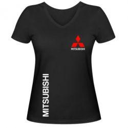 Женская футболка с V-образным вырезом Mitsubishi Motors logo - FatLine