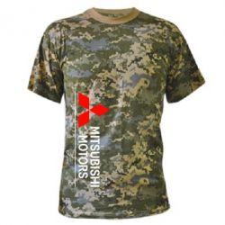 Камуфляжная футболка Mitsubishi Motors лого - FatLine