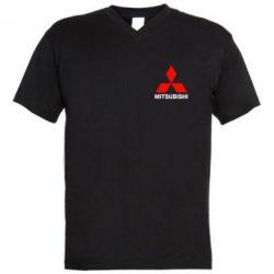 Мужская футболка  с V-образным вырезом Mitsubishi small - FatLine