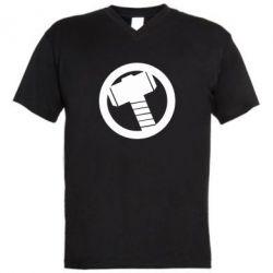 Мужская футболка  с V-образным вырезом Молот Тора - FatLine