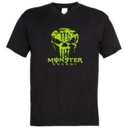 Мужская футболка  с V-образным вырезом Monster Energy Череп - FatLine