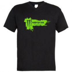 Мужская футболка  с V-образным вырезом Monster Energy Drink - FatLine