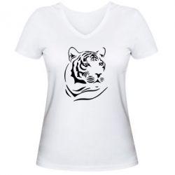 Женская футболка с V-образным вырезом Морда тигра - FatLine