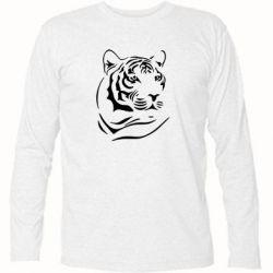 Футболка с длинным рукавом Морда тигра - FatLine