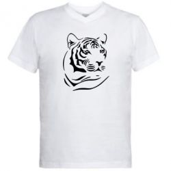 Мужская футболка  с V-образным вырезом Морда тигра