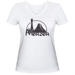 Женская футболка с V-образным вырезом Mordor (Властелин Колец) - FatLine