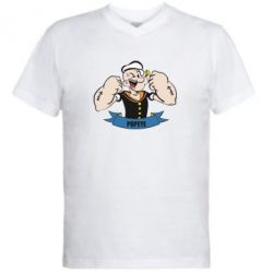 Мужская футболка  с V-образным вырезом Моряк Папай - FatLine