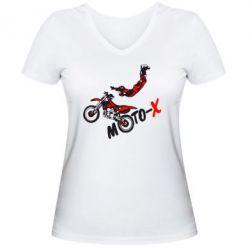 Женская футболка с V-образным вырезом Moto-X - FatLine