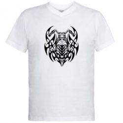 Мужская футболка  с V-образным вырезом Мотоцикл с кельтами - FatLine