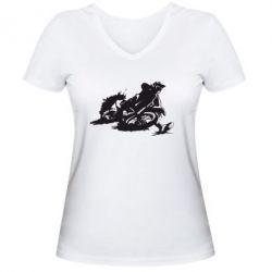 Женская футболка с V-образным вырезом Мотокросс лого - FatLine