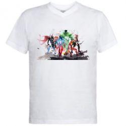 Мужская футболка  с V-образным вырезом Мстители Арт - FatLine