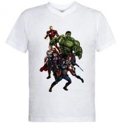 Мужская футболка  с V-образным вырезом Мстители Фан Арт