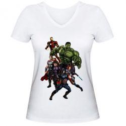 Женская футболка с V-образным вырезом Мстители Фан Арт - FatLine